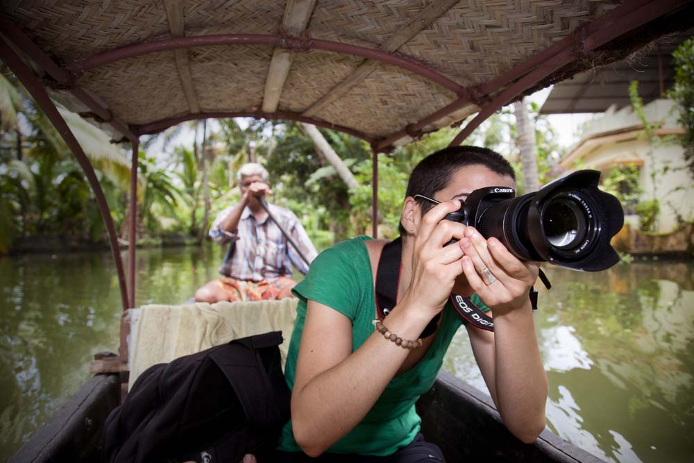 Improving photo skills during a canoe trip along the canals of Alleppey, India.