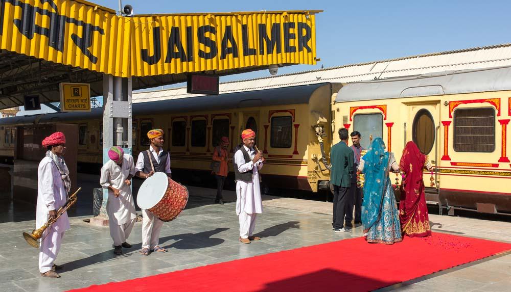Luxury train Palace on Wheels in Jaisalmer, India.