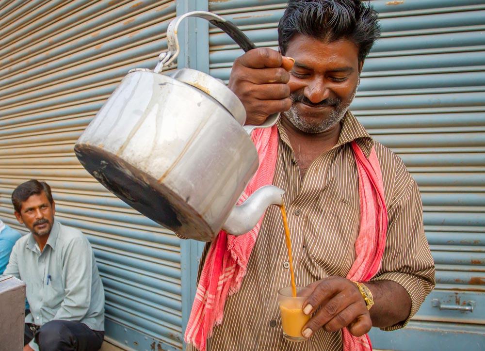 Indian chai preparing in Mysore, India.
