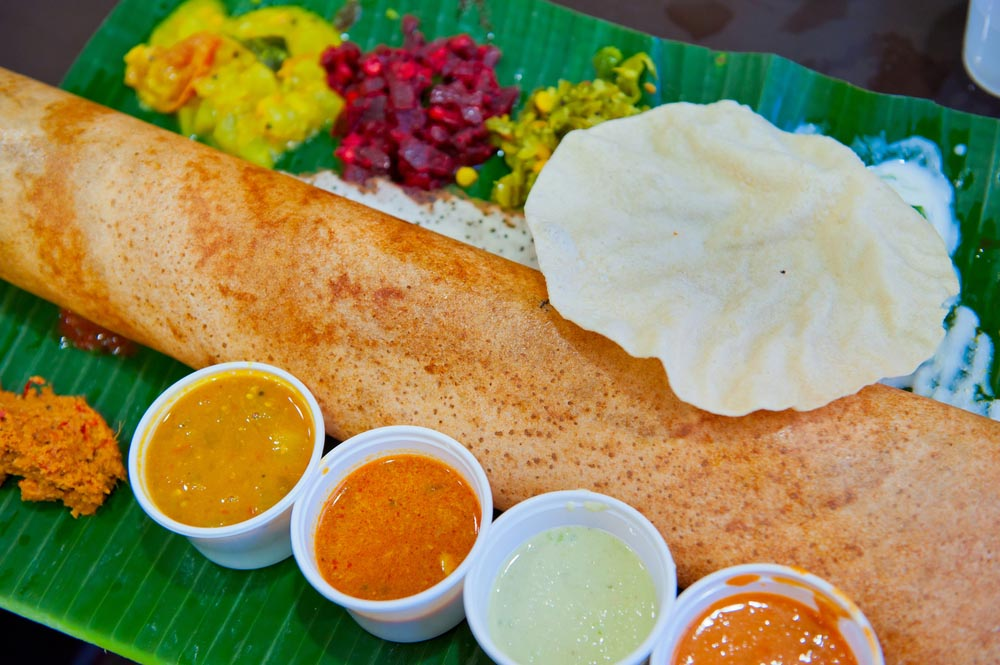 Dosa, a crispy savoury pancake from the south