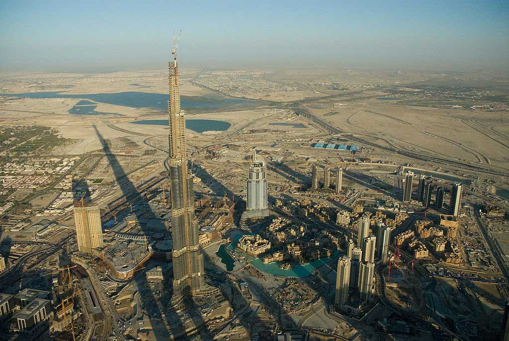 The now world-famous Burj Khalifa under construction in 2008.