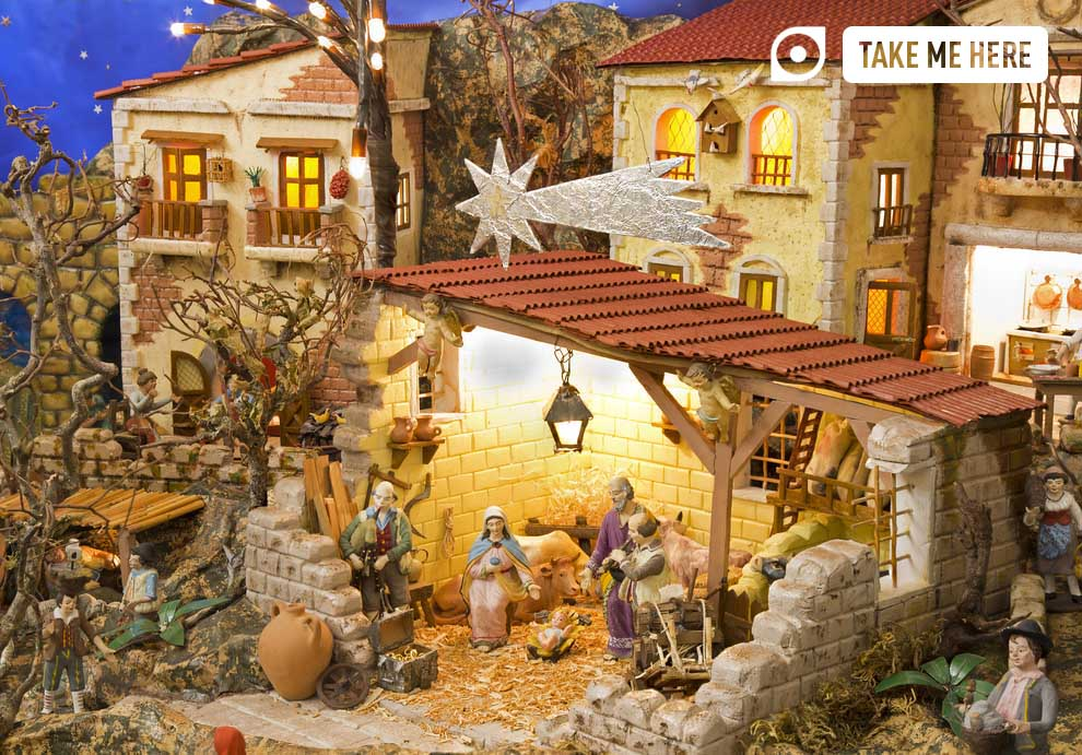 Nativity scene with hand made figurines displayed in Naples.