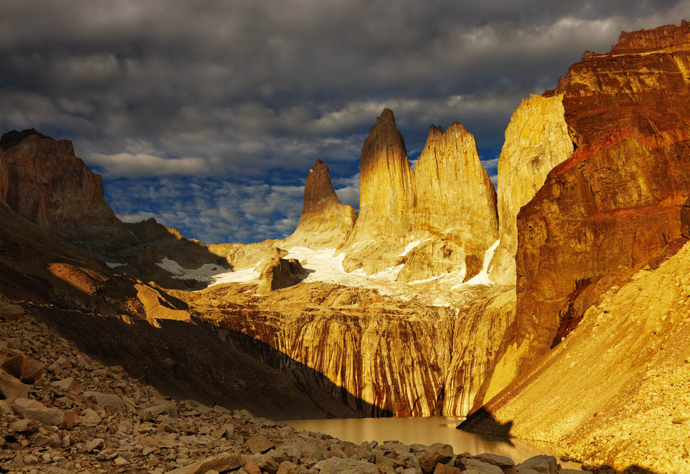 Towers at sunrise, Torres del Paine National Park, Chile. Photo: Shutterstock