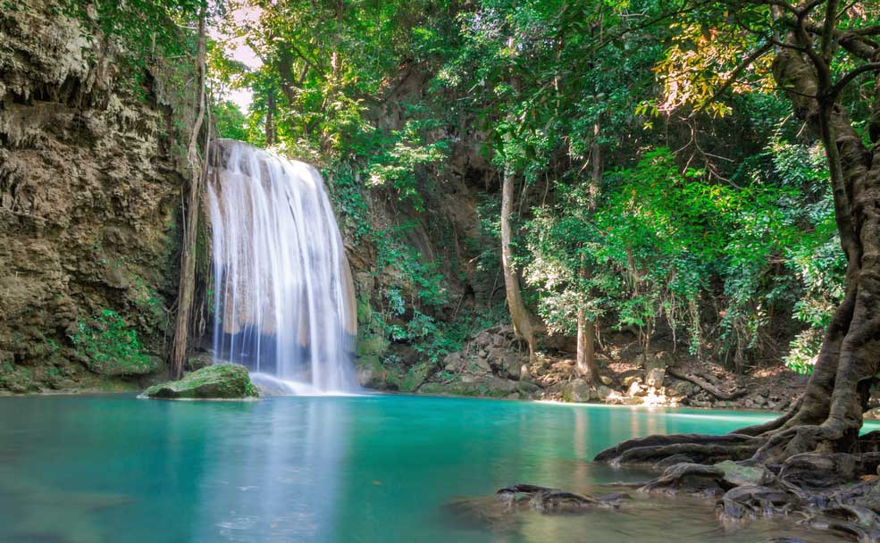 Waterfall in Erawan national park in Kanchanaburi. Photo: Shutterstock