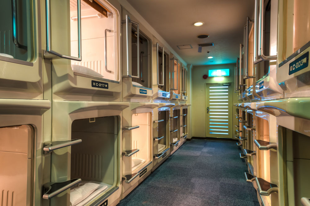 Interior of japanese capsule hotel. Photo: Shutterstock