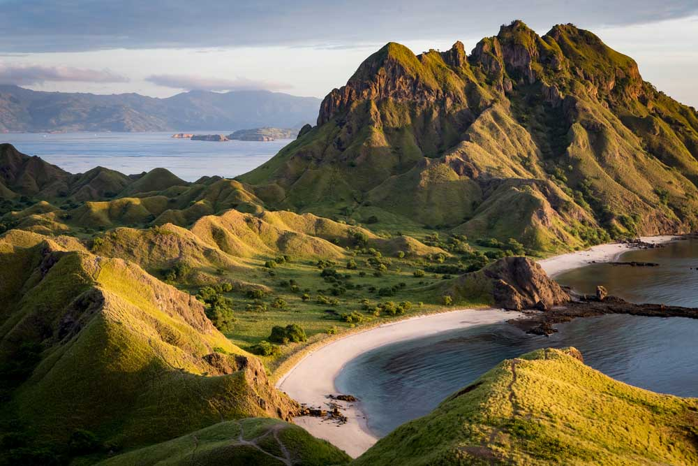 Landscape view from the top of Padar island in Komodo islands