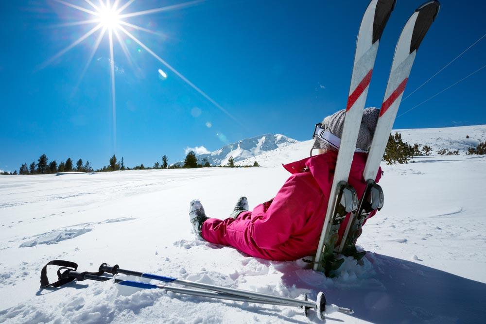 Sunny winter day in Bansko, Bulgaria.