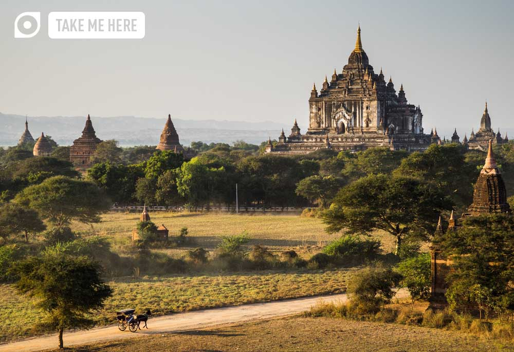 The Horse car in the plain of Bagan(Pagan) at sunset, Myanmar. Photo: Shutterstock