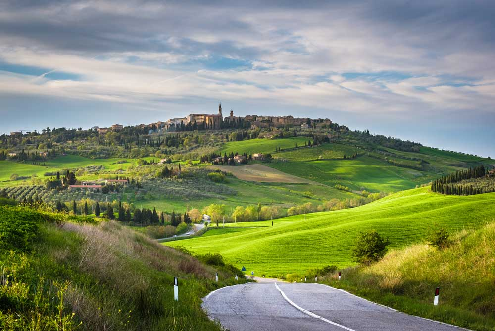 Spring landscape of Tuscany overlooking the medieval town of Pienza. Photo: Shutterstock