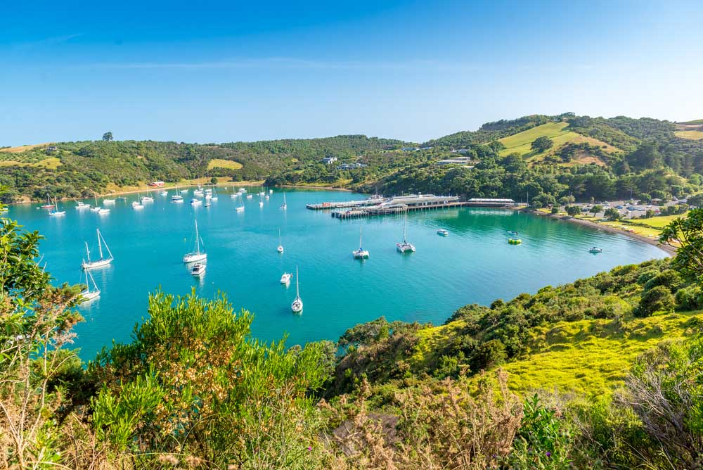 Beautiful bay on Waiheke Island, New Zealand.