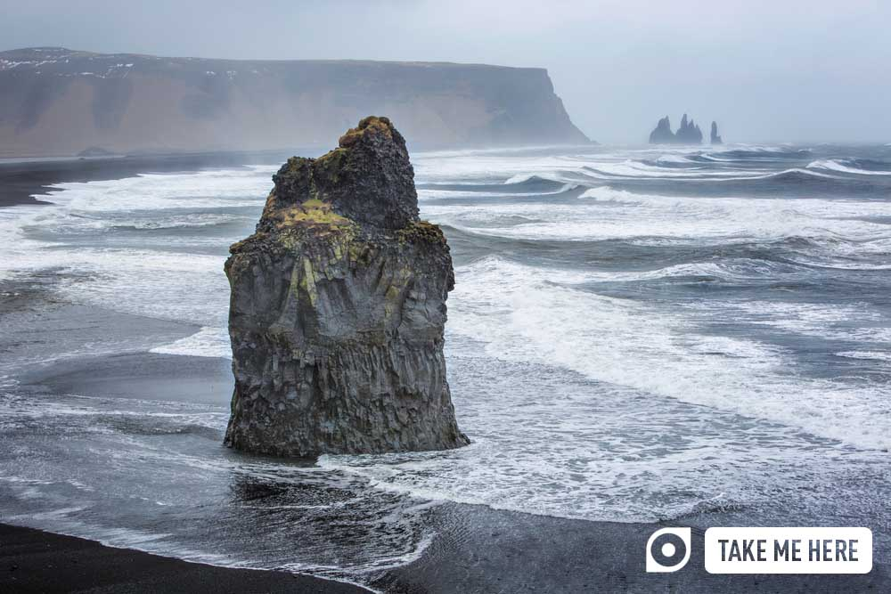 Dyrhólaey rock, near the black-sand beach at Reynisfjara
