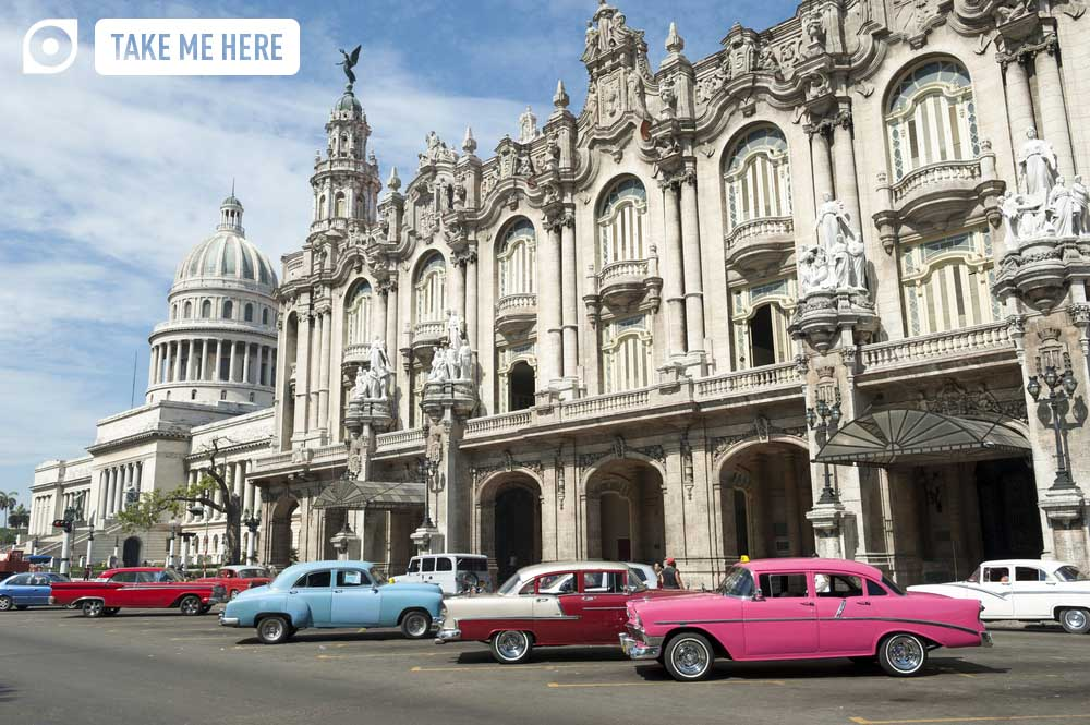 Brightly coloured vintage cars in Havana, Cuba.