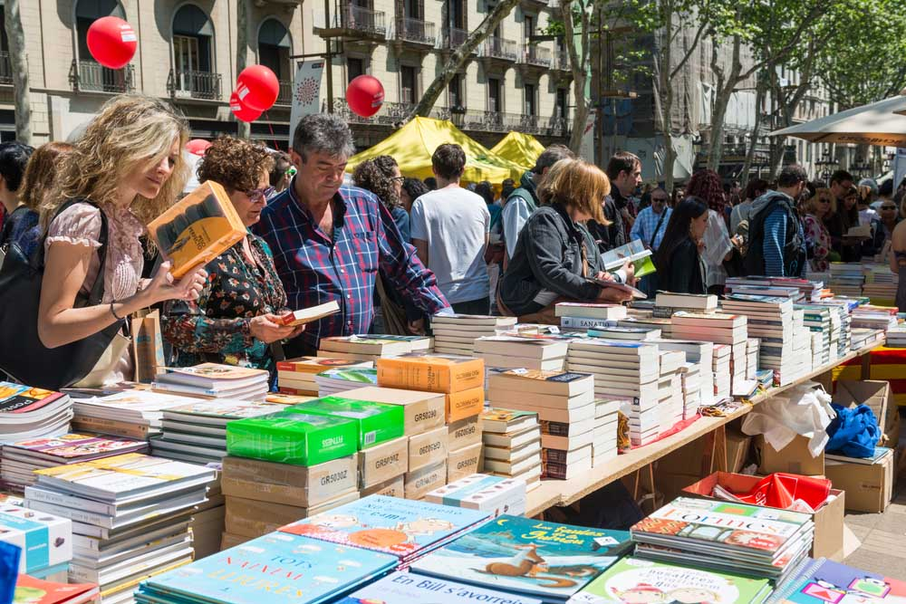 Diada de Sant Jordi or Saint George's Day, a famous Catalan celebration in Barcelona.