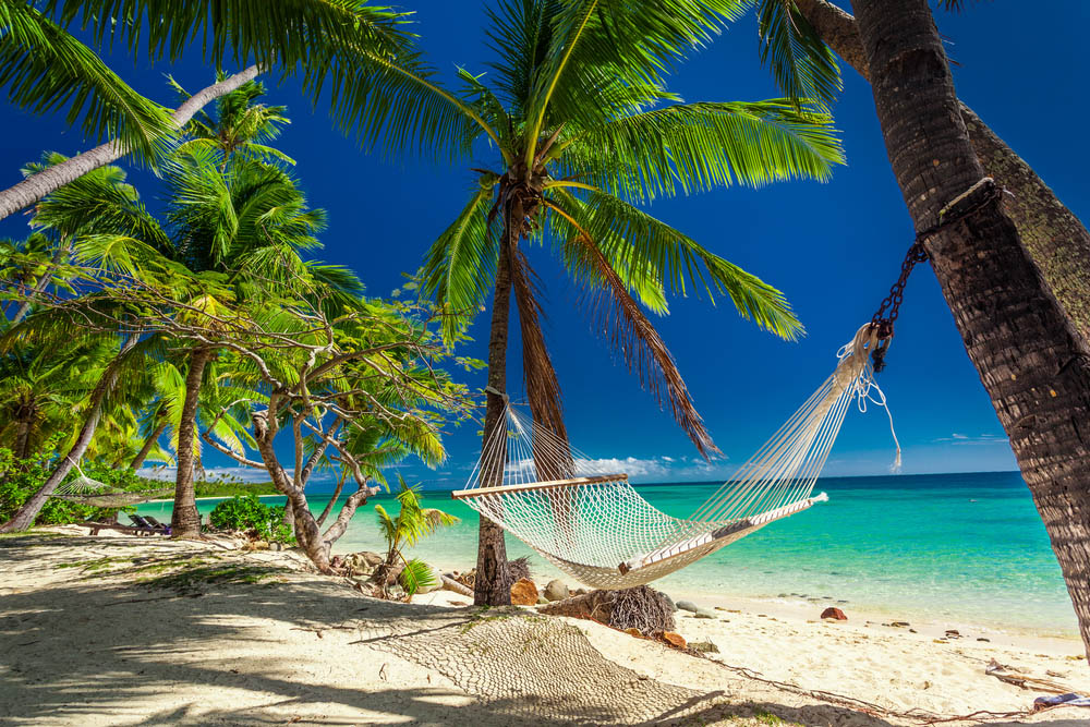 Empty hammock in the shade of palm trees on tropical Fiji Islands. Photo: Shutterstock