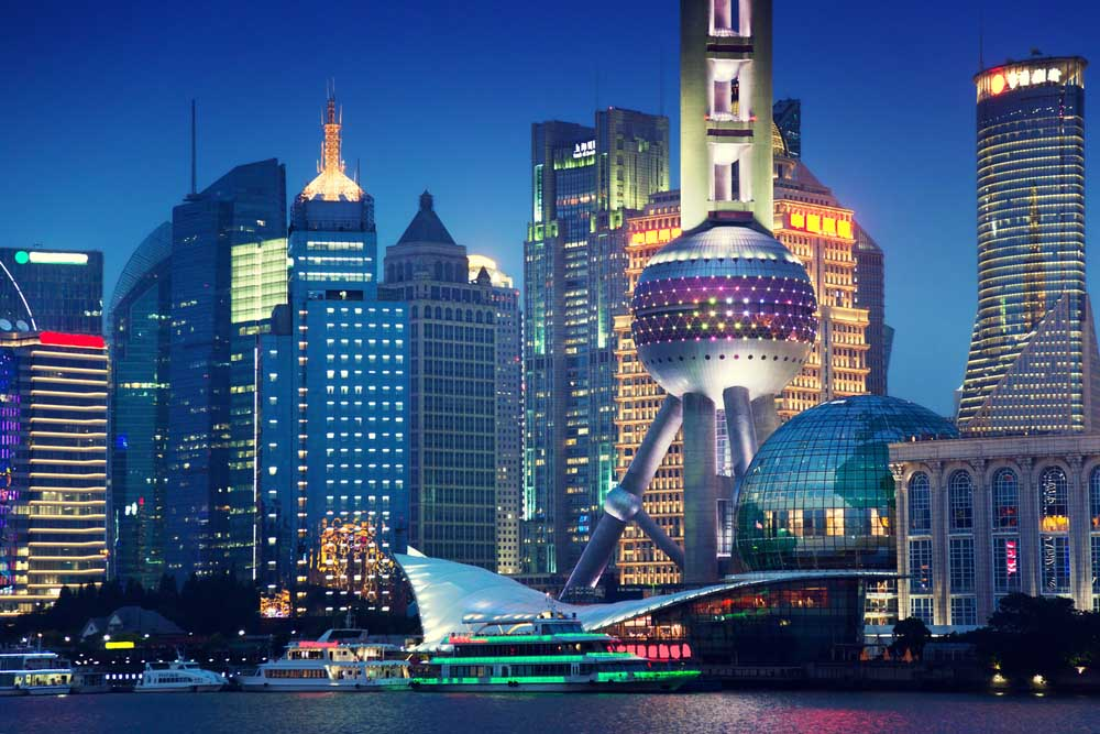 Modern Shanghai architecture at night. Photo: Shutterstock