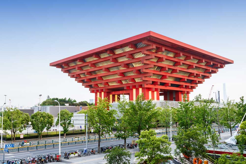 China Art Museum. It is housed in the former China Pavilion of Expo 2010 located in Pudong, the largest art museum in Asia. Photo: Shutterstock