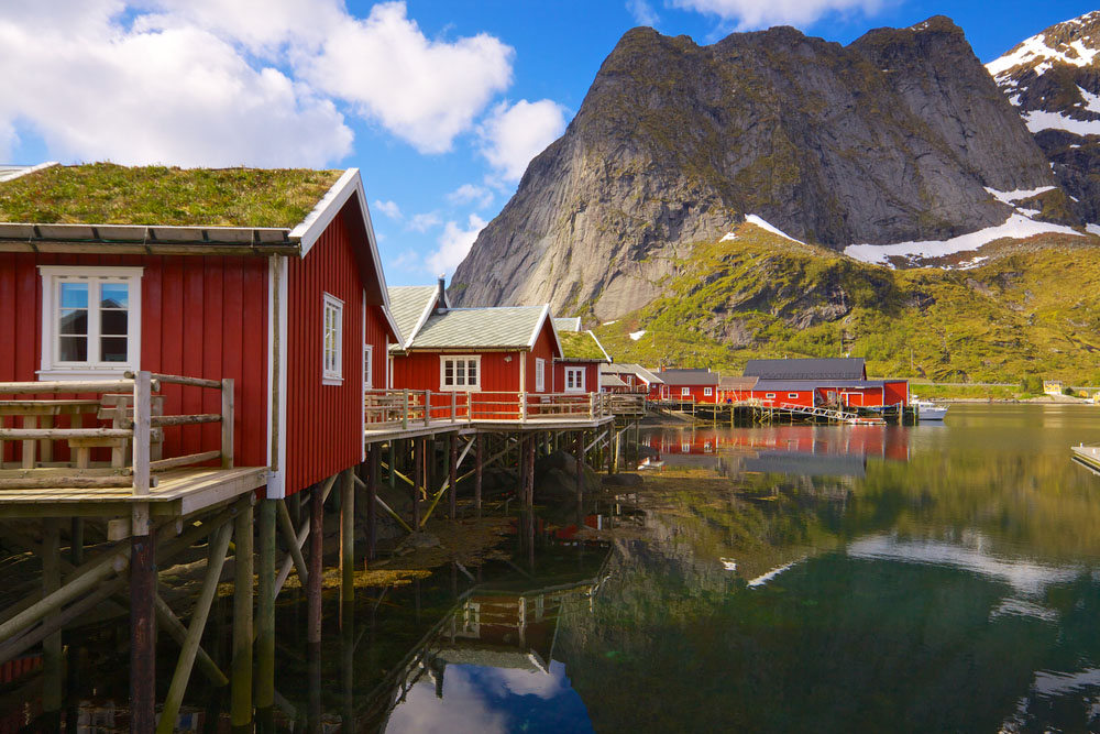 Typical red rorbu fishing huts with sod roof on Lofoten islands in Norway reflecting in fjord. Photo: Shutterstock