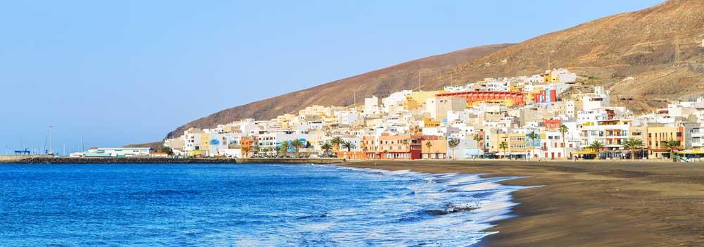 Panorama of Gran Tarajal beach, Fuerteventura.