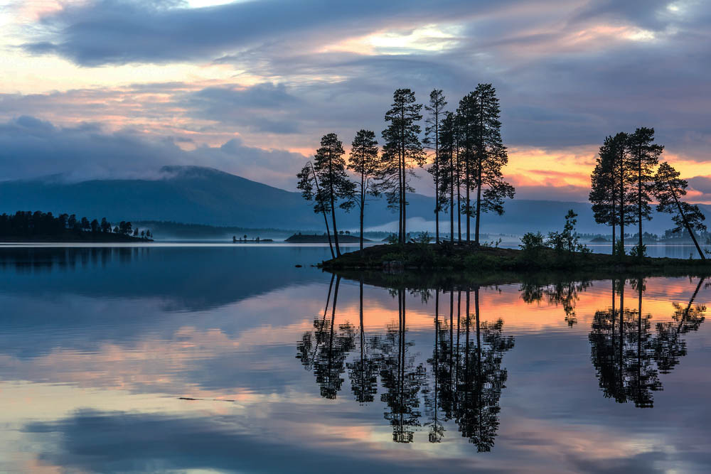 Swedish sunset over a lake