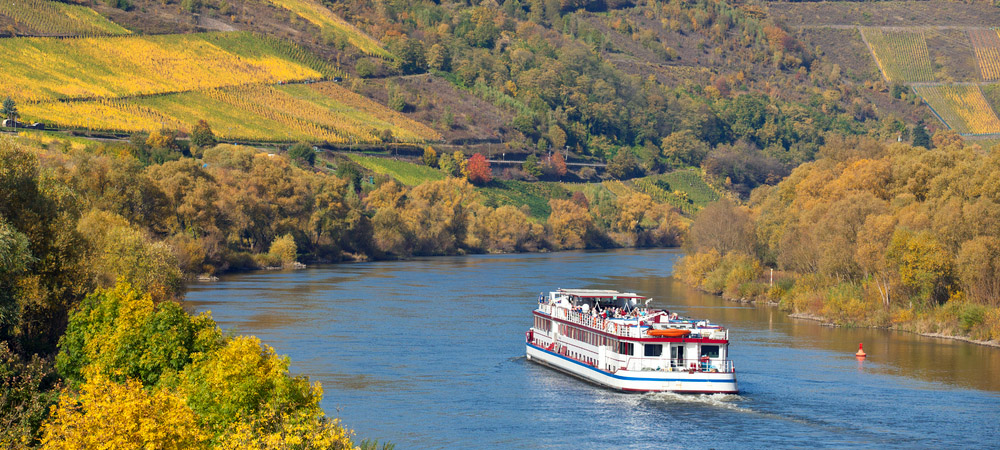 Cruise vessel on river Cruising on the Moselle. Photo: Shutterstock
