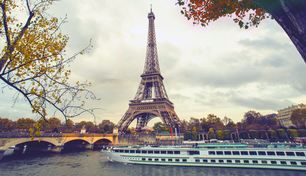 Cruising past Paris's greatest icon, the Eiffel Tower. Photo: Shutterstock
