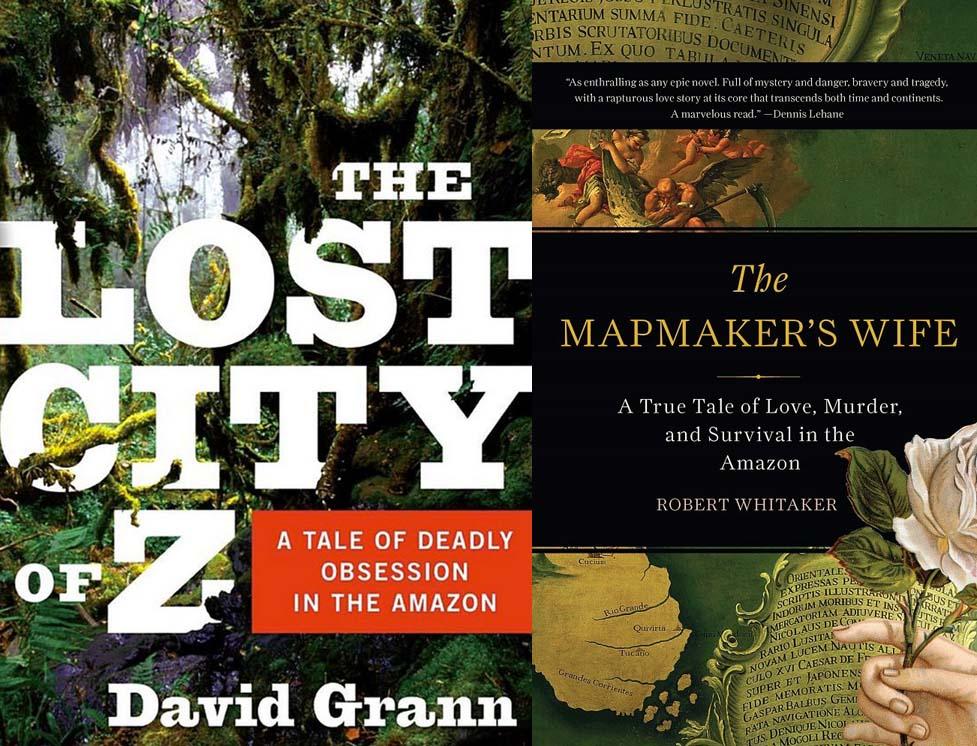 "A compilation of covers of Amazon books: ""The Lost City of Z"" and ""The Mapmaker's Wife"""