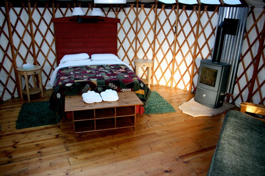 Treebones yurt interior