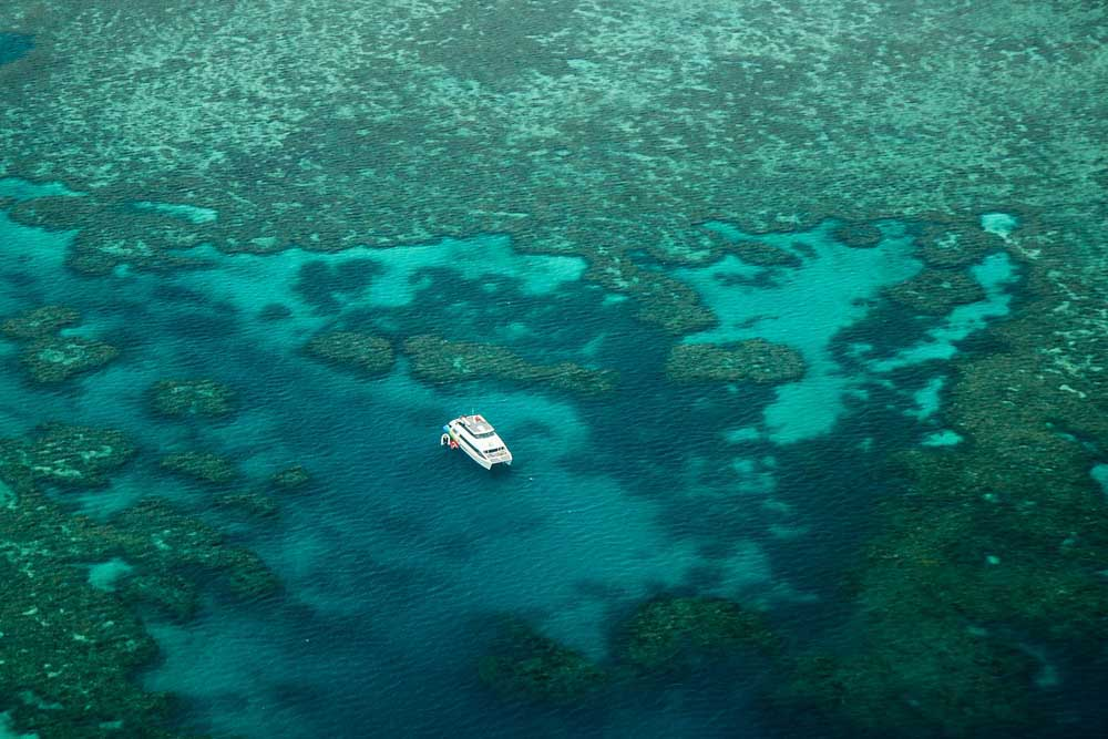 Lonely catamaran in the Great Barrier Reef.