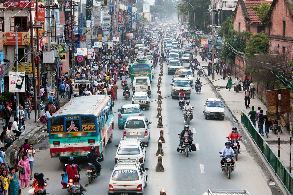 Crowded traffic jam road in Kathmandu city. Photo: Shutterstock
