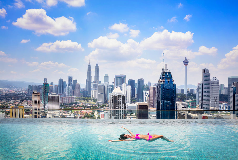 Rooftop pool with a view, Kuala Lumpur. Photo: Shutterstock