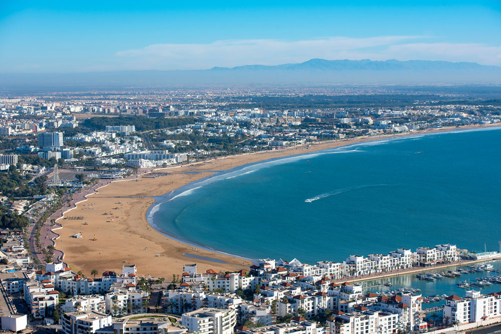 Best beaches in Morocco – Agadir and its beach bathed in summer sunshine.
