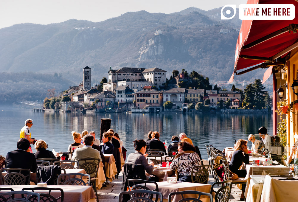 Lunch with a view, looking out over Lake Orta.
