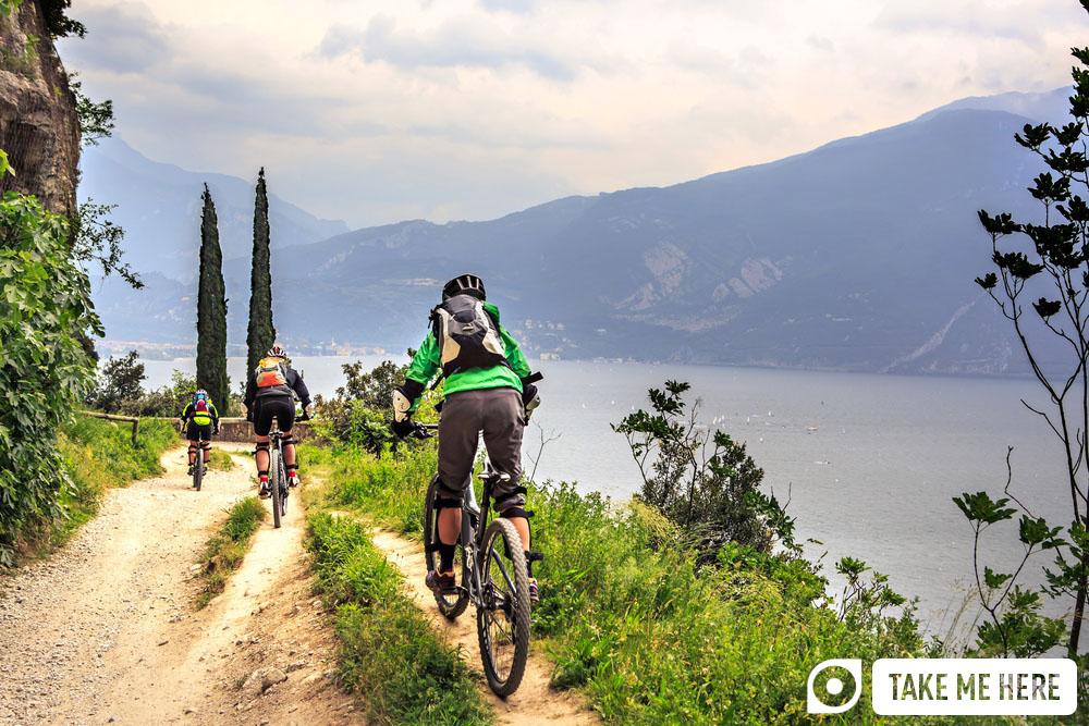 Mountain biking near Lake Garda.