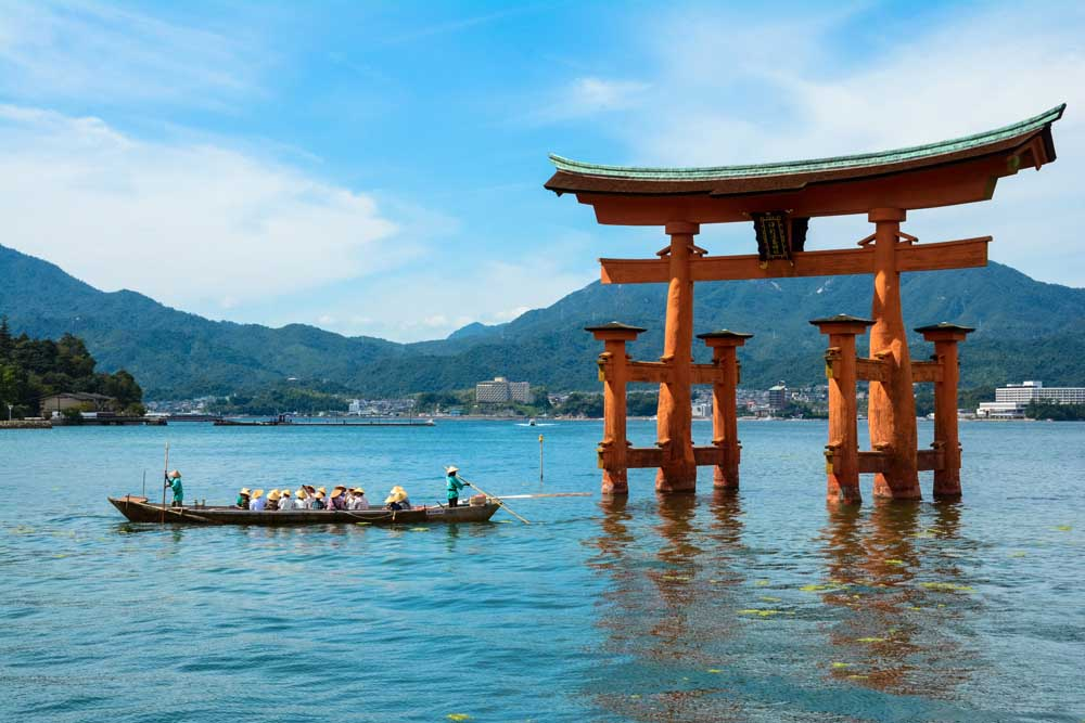 The large crimson torii (shrine gate), rising out of the sea, is one of the most familiar Japanese cultural icons