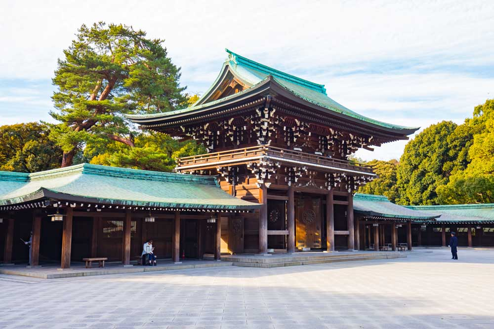 Meiji Shrine, located in Shibuya, Tokyo, is a Shinto shrine dedicated to the deified spirits of Emperor Meiji and his wife, Empress Shoken.
