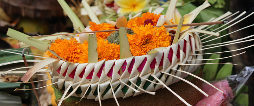 Prayer offerings at the Oberoi Bali Hotel. Photo: Press release