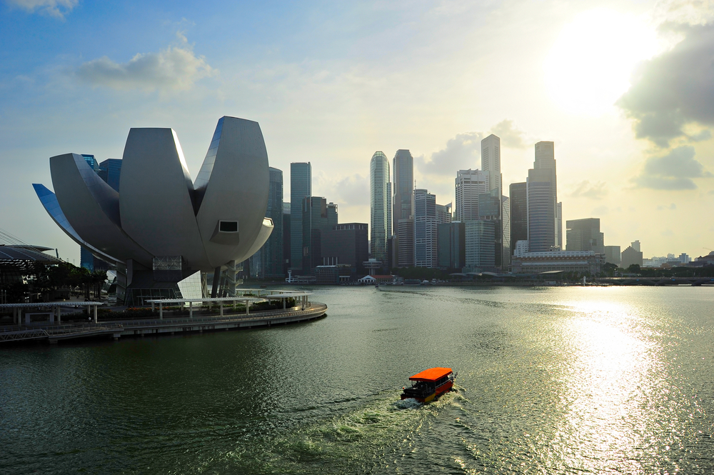 Bumboat cruising with a view in Singapore.