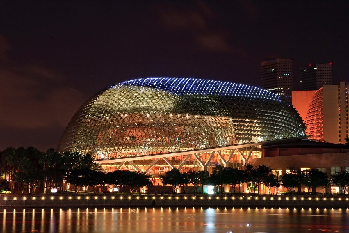 Closeup of Esplanade public theater shines at dusk in Singapore. Photo: vichie81/Shutterstock