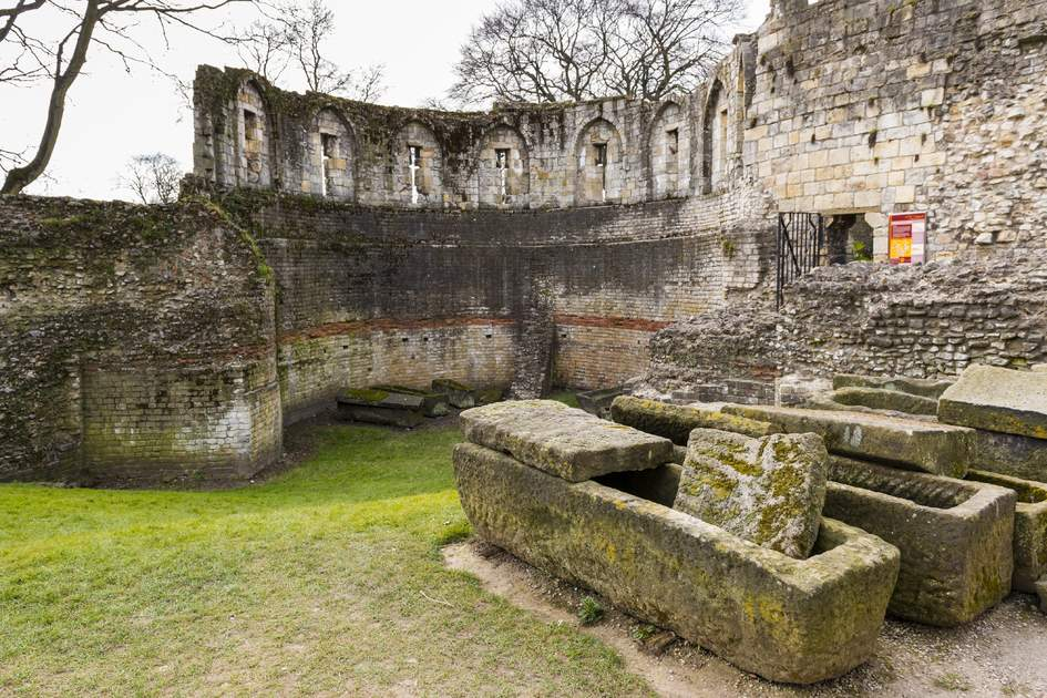 YORK, UK - MARCH 30: Ruins of the Multangular Tower, the last surviving of eight similar towers that formed Roman York's stone defenses in the fourth century. March 30, 2013 in York.