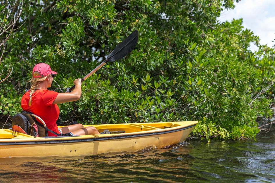 Young woman kayaking in Everglades National park, Florida, USA