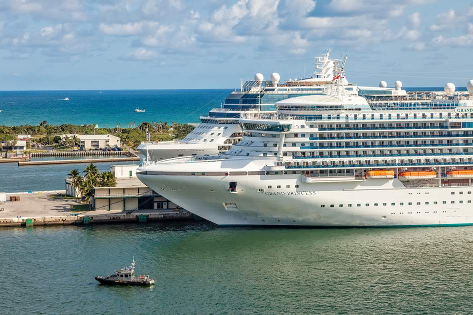 FT. LAUDERDALE, FL - JAN. 12, 2013: Cruise ships anchored in Port Everglades, one of the biggest cruise ship ports in the United States.