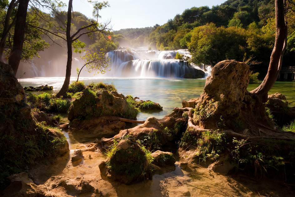 Beautiful view on the Skradinski waterfall at the end of the Krka river in Krka national park in Croatia