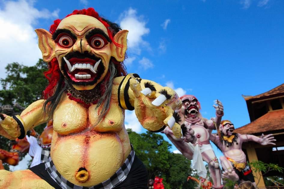 Balinese monsters Ogoh-Ogoh on blue sky background