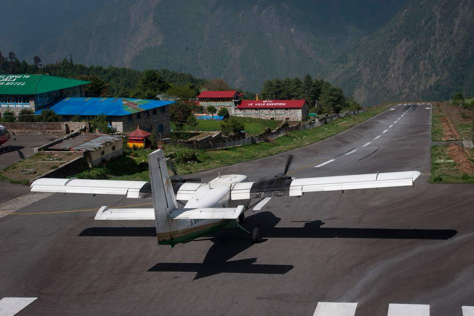 Mountain flight departing Lukla Airport, Nepal