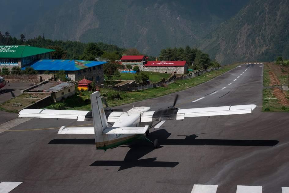 Mountain flight departing Lukla Airport, Nepal
