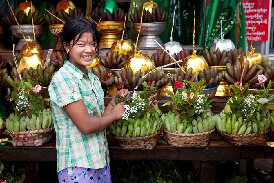 Offerings at Botataung Pagoda in Yangon, Myanmar
