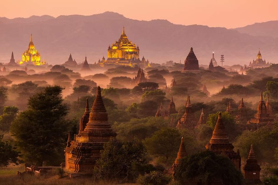 Bagan's pagodas under a warm sunset
