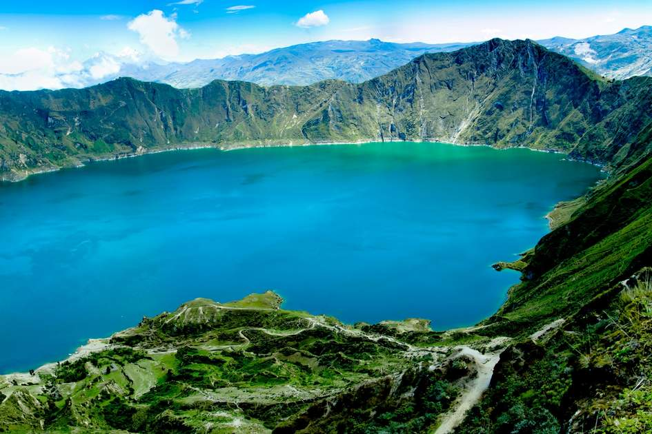 The lake-filled Quilotoa volcano, Ecuador