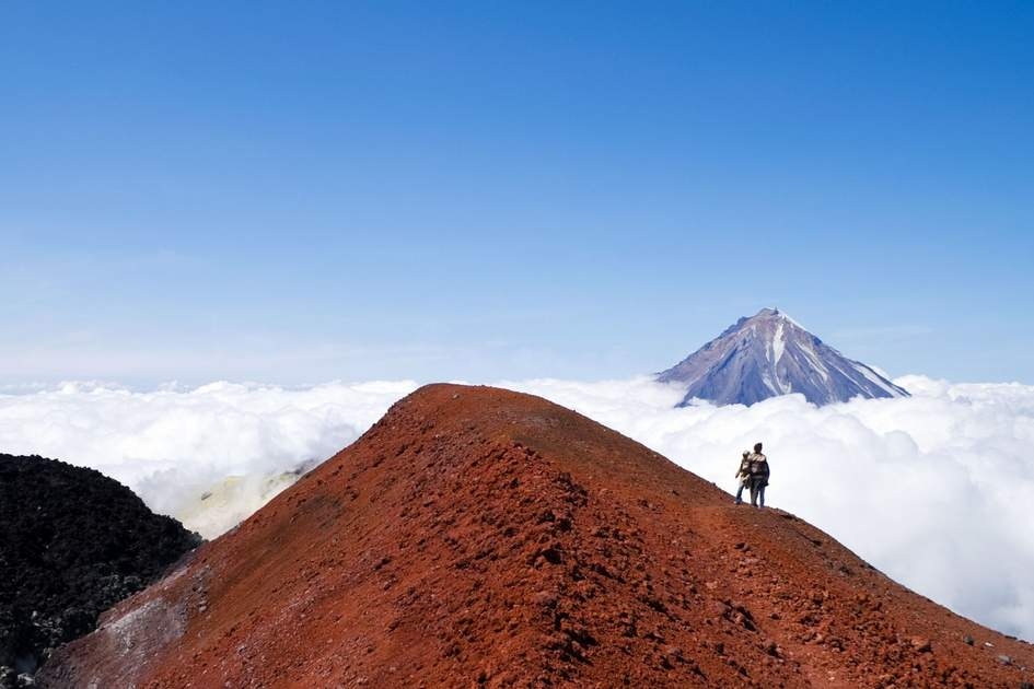 People in crater of the volcano Avacha on Kamchatka