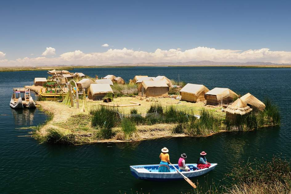 A floating reed village in Lake Titicaca.